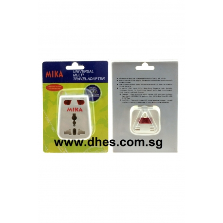 Mika 3 Pin Universal Multi Travel Adaptor With USB Port