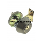 Faultless Single Cylinder Antique Brass Deadbolt