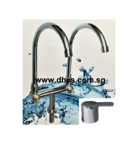 "Showy ""The Pure"" Quarter Turn Twin Spout Sink Tap (Cold Water)"