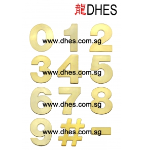 Modern 3D Auspicious Golden Plaque Number With Adhesive